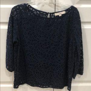 Loft navy lace top size M